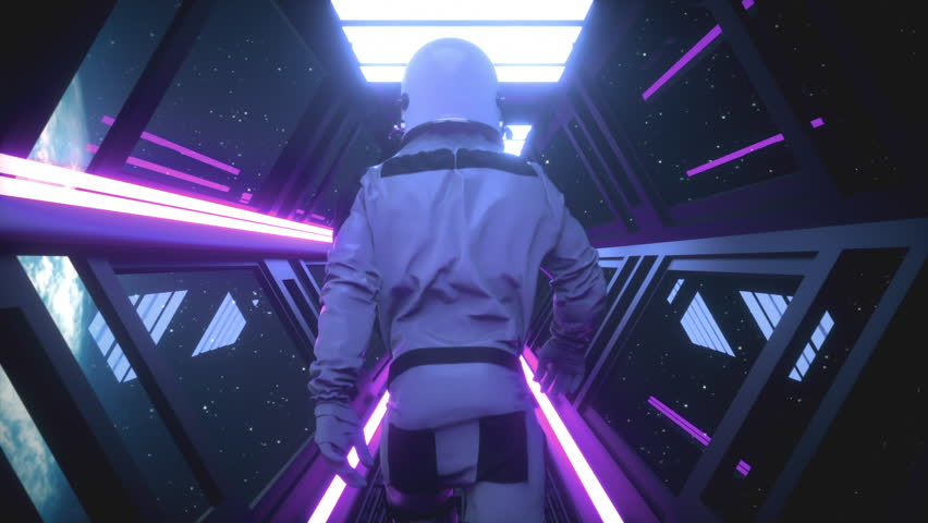 Astronaut going through the tunnel to another compartment of the space gateway