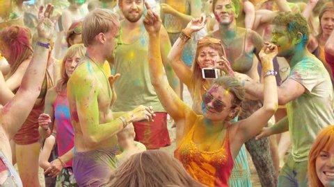 RUSSIA, ABRAU - JUNE 20, 2017: Holi Colors Festival. Ethno-esoteric Festival of Kwammanga, June 20, 2017 in Abrau Russia