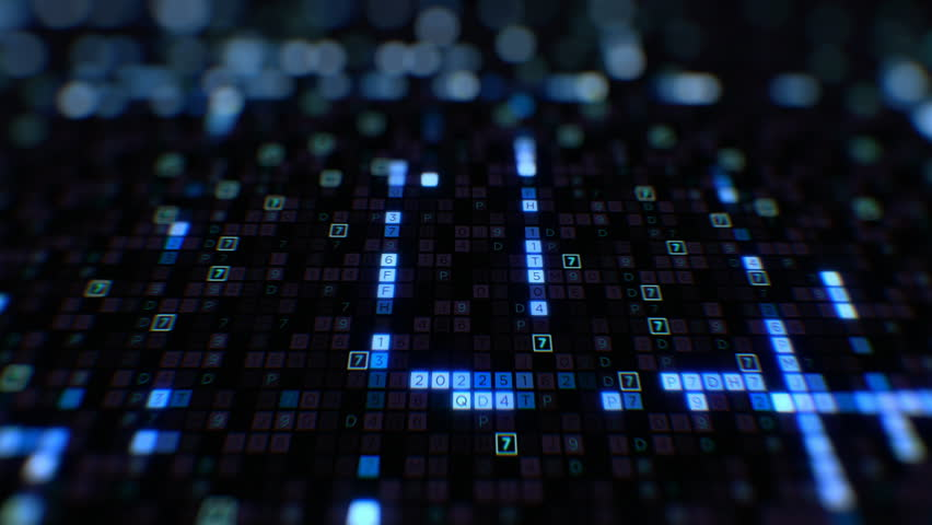 Beautiful Digital Code Hexadecimal Big Data Blue Color Moving on Screen Seamless. Changing Symbols Glowing Looped 3d Animation. Futuristic Business Information Technology Concept. 4k UHD 3840x2160. | Shutterstock HD Video #1023222037