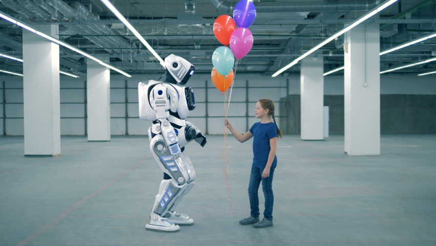 Empty warehouse unit with a little girl gifting balloons to a cybrog | Shutterstock HD Video #1023238897