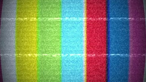 Old bad TV sync. Analogue television screen with noise.  Bad signal on colorful test screen from old tv.