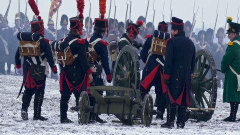 AUSTERLITZ, CZECH REPUBLIC – 12/01/2018: Napoleon army soldiers with artillery cannon