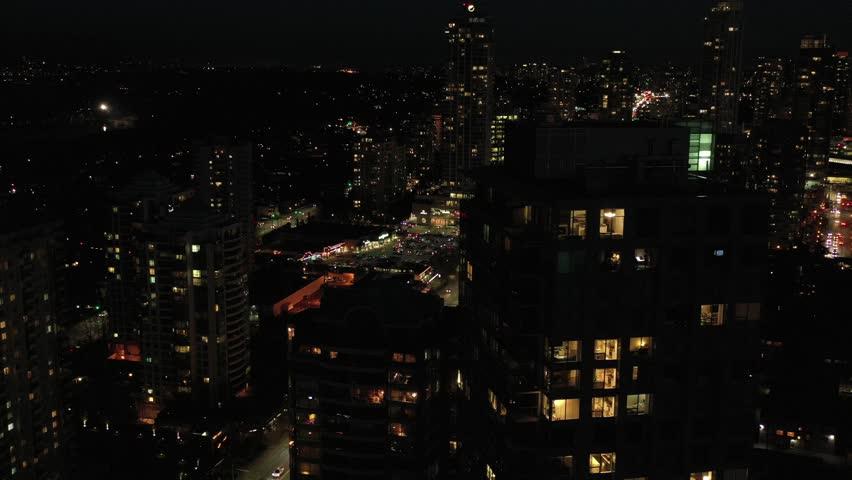 Cityscape Night. Aerial Flight. Evening illumination. 4K. | Shutterstock HD Video #1023275827