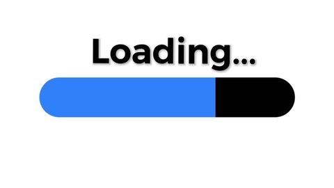Loading bar isolated on white background with blue progress indicator