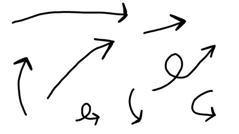 Hand drawn animation of many different arrows pointing at something. Many shapes and looks. .Cartoon looking drawing.