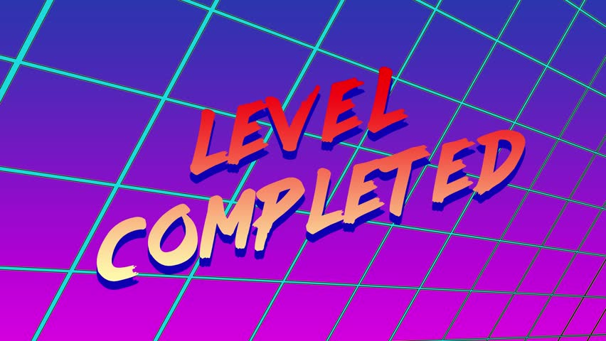 Animation of LEVEL COMPLETED title appearing on a retro 80s 90s style graphics background. | Shutterstock HD Video #1023435367