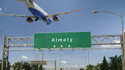Airplane Landing Almaty