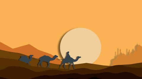 Caravan of camels in the African desert on his way to a vanishing mirage city, animation