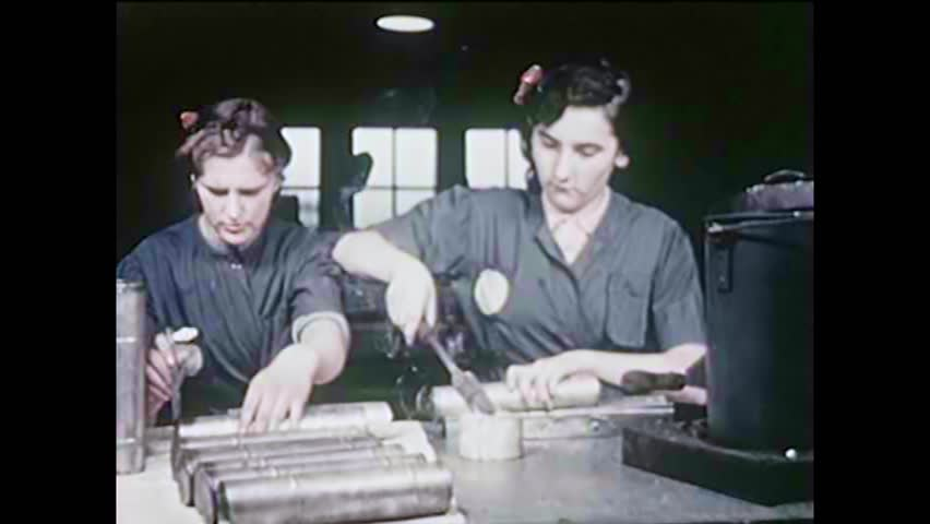 CIRCA 1940s - Women work in factories and as fire fighters during World War II in America