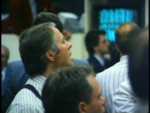 WINNIPEG, MANITOBA, 1990, Winnipeg Commodities Exchange, brokers, trader yelling