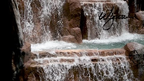 LAS VEGAS, NV - JULY 1, 2018: View of Wynn Casino fountain. Las Vegas is the world gambling capital.