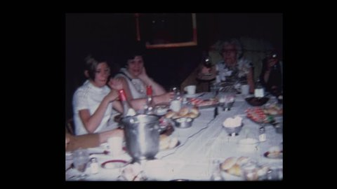 1971 Family toasts elderly couple on their 50th Anniversary