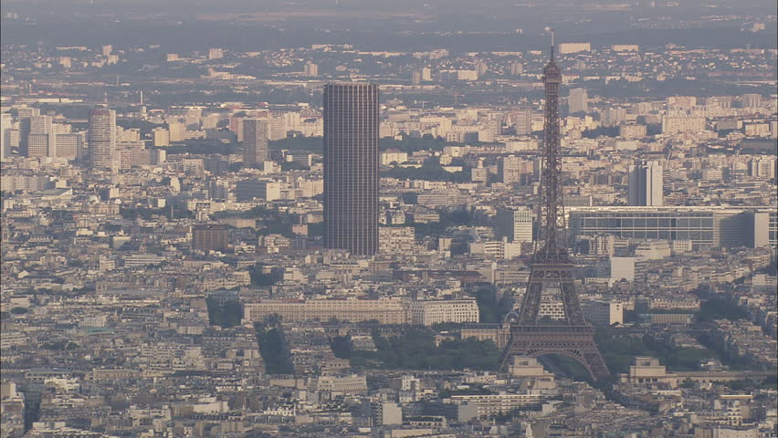 AERIAL France-Paris Skyline 2007: Eiffel Tower and Tour Montarnasse | Shutterstock HD Video #10236077