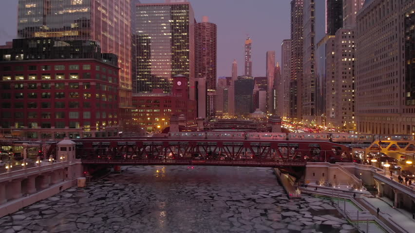 Chicago downtown aerial frozen river skyline | Shutterstock HD Video #1023610867