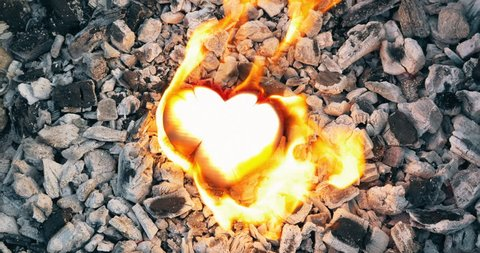 Valentine's Day, Holiday of Love and Friendship. A heart burning on a fire, conceptual symbol of burnout relationship.