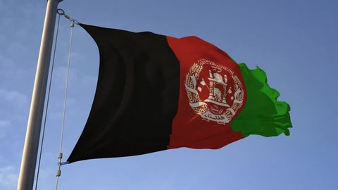 Flag of Afghanistanwaving against wind in slow motion on pole. National Afghan  patriotic country theme. Seamless looping 4K resolution. 3D rendering realistic animation.