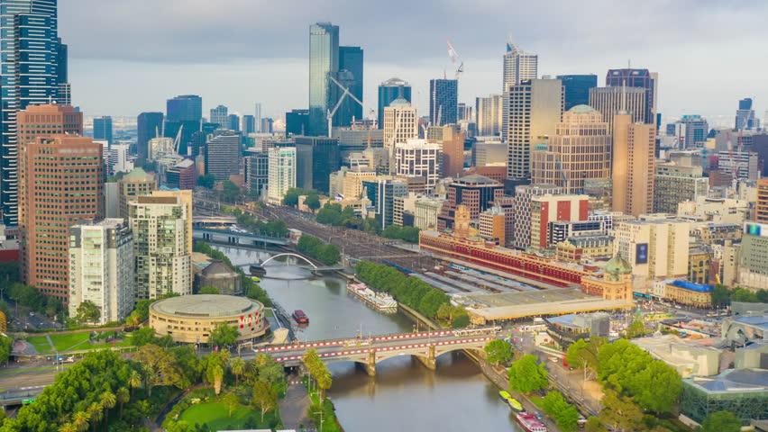 Aerial hyperlapse video of Melbourne city in Australia   Shutterstock HD Video #1023720397