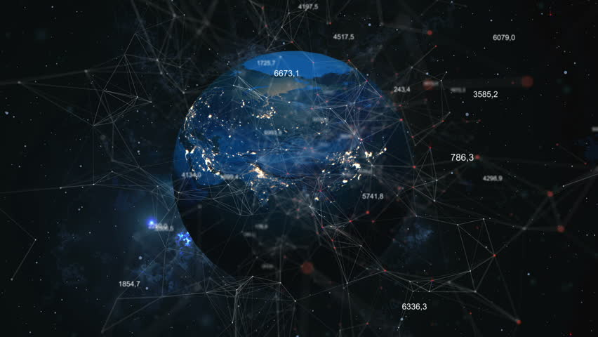 Rotation of the shining planet Earth with particles, plexus and numbers. Abstract background. #1023733507