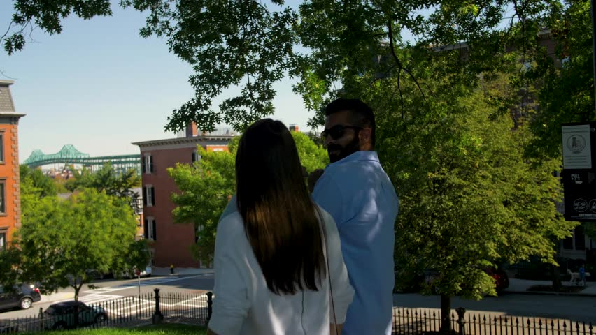 Couple Walking Around Boston Residential Buildings Apartments Houses Skyline | Shutterstock HD Video #1023779467