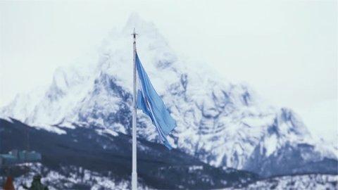Argentine Flag Over Mount Olivia, In Ushuaia (Argentina).