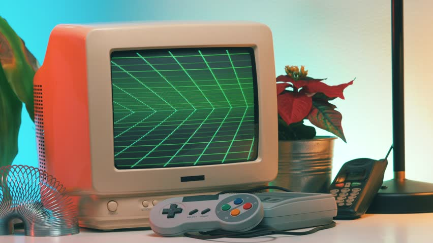THANK YOU title appearing on Old Computer - TV Screen while the camera is slightly turning around the vintage crt monitor. | Shutterstock HD Video #1023787507