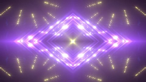 Gold and violet stage lights tunnel. Neon lights background disco floodlight with rays on black background. Movement of lasers. VJ Footage seamless loop. For background fashion show