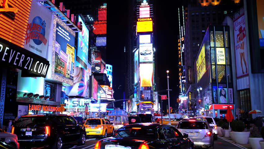 NEW YORK CITY, USA - MARCH 5, 2010 Time Lapse of Times Square New York City Cars Traffic Congestion Rush Hour Night
