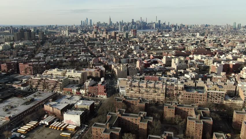 Brooklyn, New York / USA - January 1, 2019 : Aerial of Bedford Stuyvesant and Clinton Hill near downtown Brooklyn.  | Shutterstock HD Video #1023979667