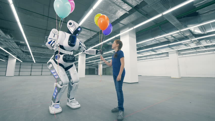 Tall cyborg is giving balloons to a little girl | Shutterstock HD Video #1024036937