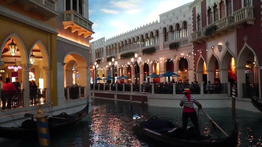 Venetian Nacelle leaving port in a Las Vegas hotel. | Shutterstock HD Video #1024092017