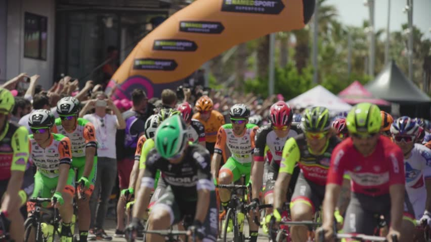 Alghero, Sardinia 5may 2017: Stage 1 cycling Giro d'Italia. A Group of professional cycling in first line the start