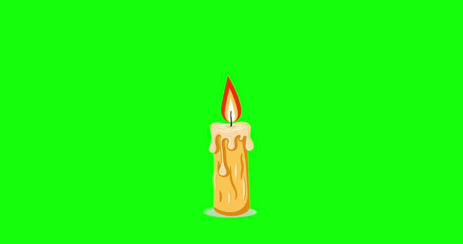 Animation of a simple cartoon candle with melting wax and a wavering flame. 4K video with a traditional candle on a green chroma key background. Motion Design Object | Shutterstock HD Video #1024096277