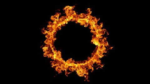 4K motion background. Burning ring of fire. 3d rendering. Seamless loopable animation.