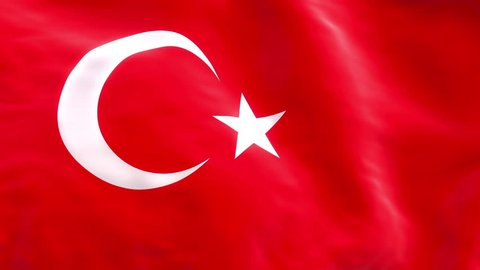Turkish flag as background in loop, Turkey flag in slow motion animation waving in the wind realistic 60 fps.