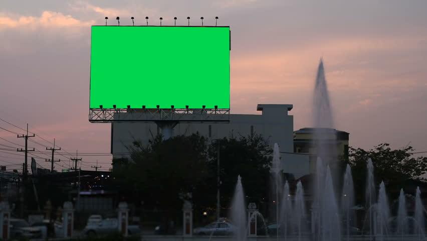Billboard green screen on sidelines at evening,  | Shutterstock HD Video #1024130207