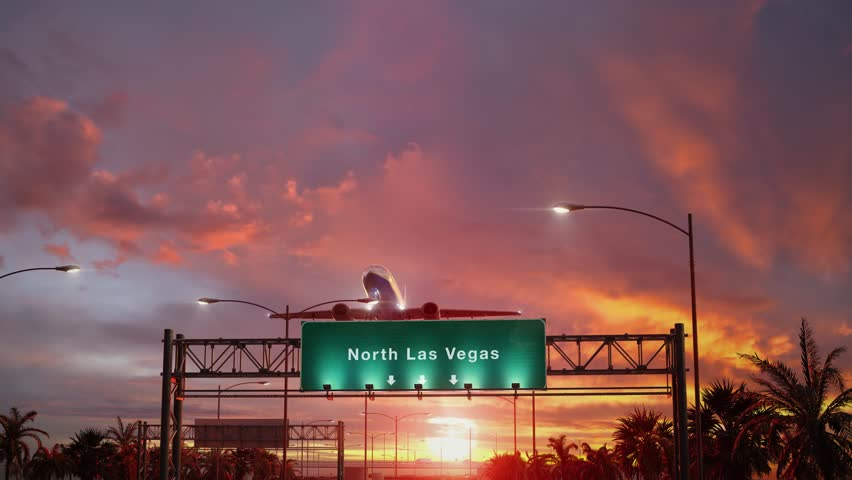 Airplane Take off North Las Vegas during a wonderful sunset | Shutterstock HD Video #1024167527