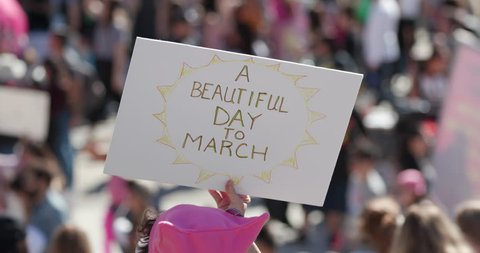 Los Angeles, CA / United States - January 19 2019: Women's March in Los Angeles, California.