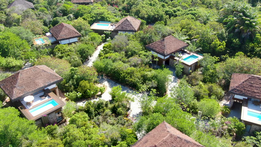 Aerial view of luxury villa with swimming pool in tropical forest. Private tropical villa with swimming pool among tropical garden with palm trees next to the coast. Praia do Forte, Bahia, Brazil | Shutterstock HD Video #1024195697