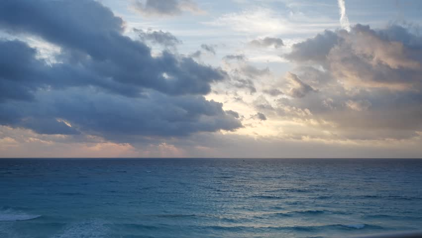 Clouds and sea timelapse in mexico cancun on sunrise | Shutterstock HD Video #1024200827