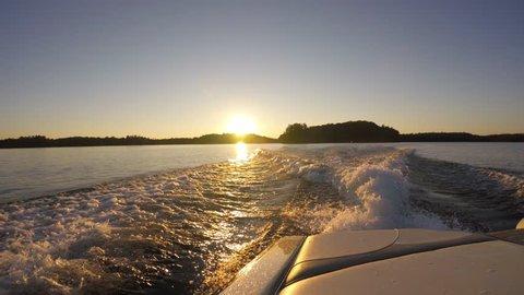 Lake Sunset Shot From Water-Sports Boat in Muskoka, Canada