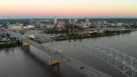 Memphis, Tennessee / United States - 09 15 2018: Aerial Views over Downtown Memphis