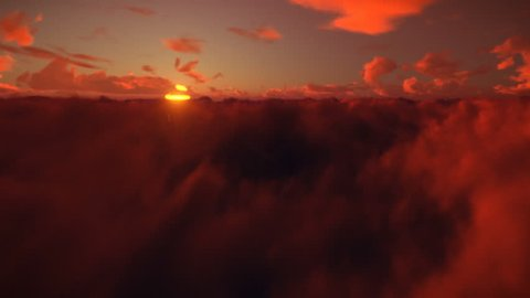 Flight above timelapse clouds against beautiful sunset, 4K