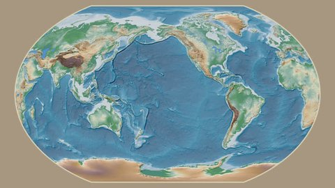 Equatorial Guinea area presented against the global physical map in the Kavrayskiy VII projection with animated oblique transformation
