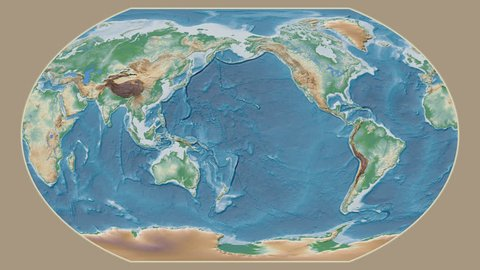 Guinea area presented against the global physical map in the Kavrayskiy VII projection with animated oblique transformation