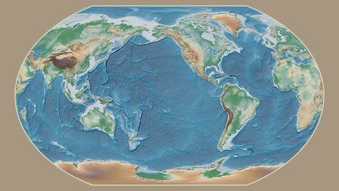 Hungary area presented against the global physical map in the Kavrayskiy VII projection with animated oblique transformation