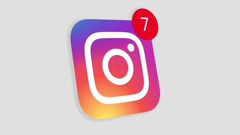 HILTON SOUTH AFRICA  JANUARY 25 2019: A motion graphic video animation illustrating the Instagram social media website logo app icon popup notification messages counting up