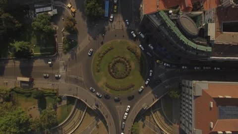 Summer day in Budapest traffic circle topshot 4k drone footage