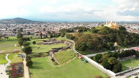 Cholula, Mexico - 10 29 2018: Great Pyramid of Cholula