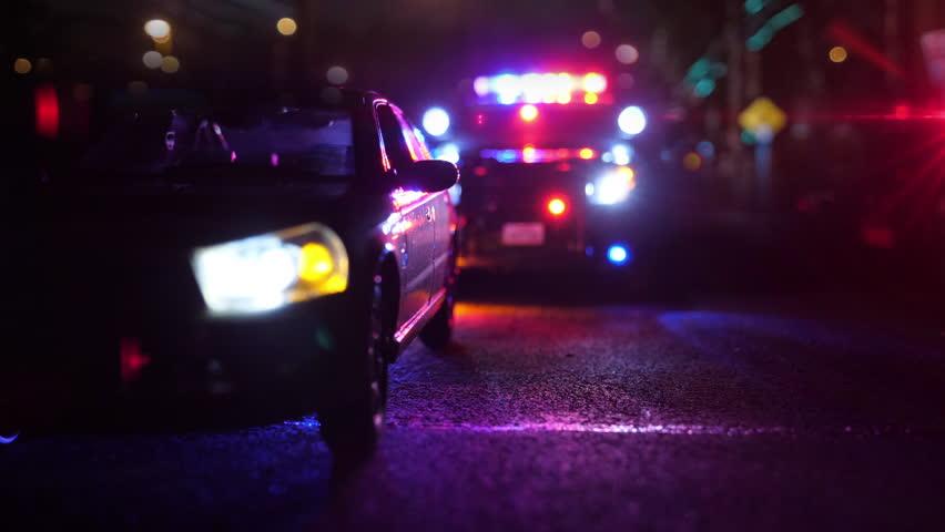 Police Patrol Car at Scene of Emergency (Optical Lens Defocus) 4K UHD