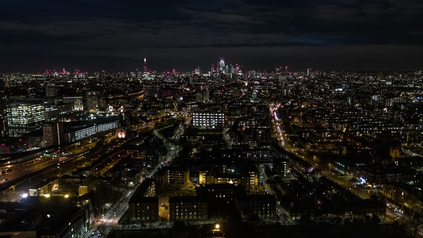 Establishing Aerial View of London Skyline, The City of London, United Kingdom, night #1024489337